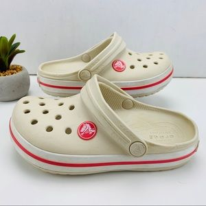 CROCS Crocband Clog Cream with Pink Slip On Shoe